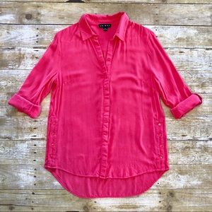 Tribal Button Down Collared Blouse Side Button Top